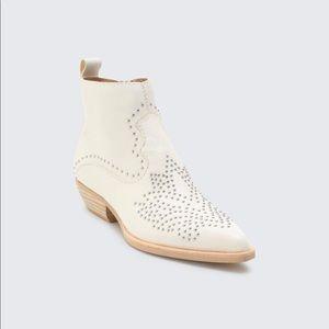 Dolce Vita White Uma Flat Studded Booties